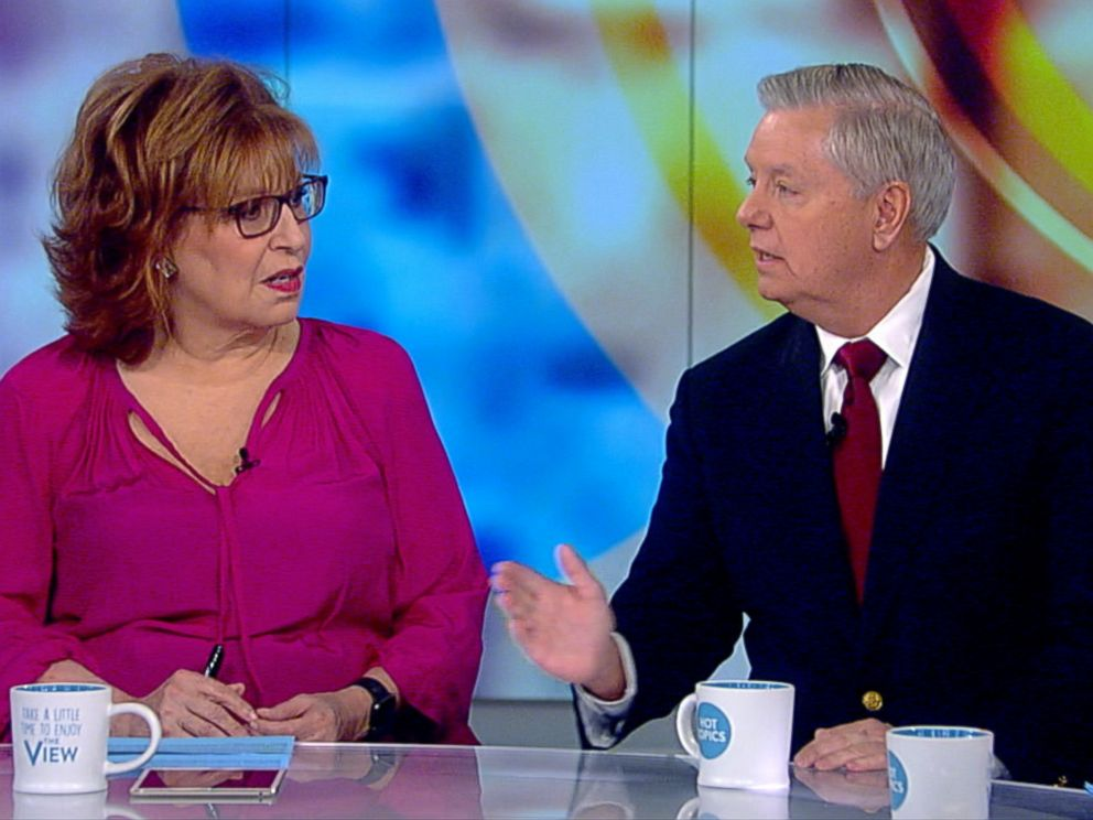 PHOTO: ABC's Joy Behar talks with Sen. Lindsey Graham on The View, Jan. 8, 2018.