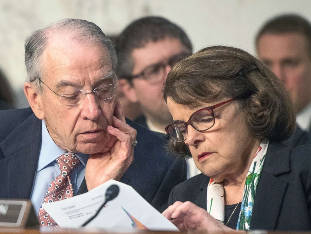 PHOTO: U.S. Senators Charles Grassley and Dianne Feinstein look over some notes as they hear testimony before the U.S. Senate Committee on the Judiciary on Capitol Hill in Washington, March 14, 2018.