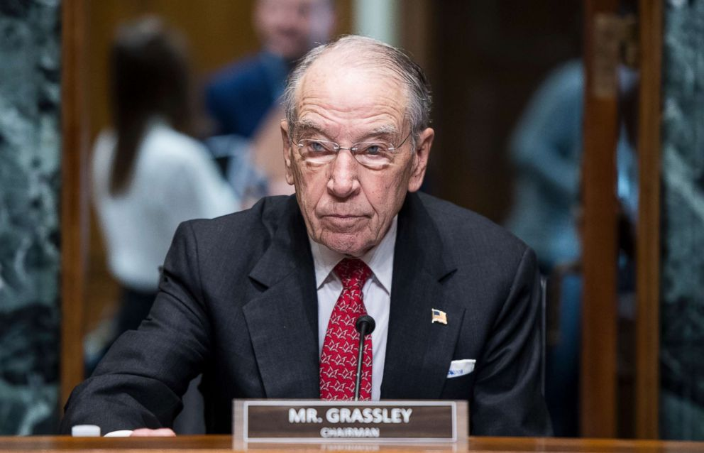 PHOTO: Sen. Chuck Grassley, R-Iowa, takes his seat for the Senate Finance Committee organizational meeting and hearing on pending nominations, Feb. 2, 2019.