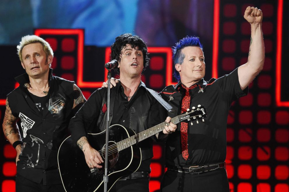 PHOTO: (L-R) Mike Dirnt, Billie Joe Armstrong and Tre Cool of Green Day perform during Global Citizen Festival 2017 at Central Park on Sept. 23, 2017, in New York City.