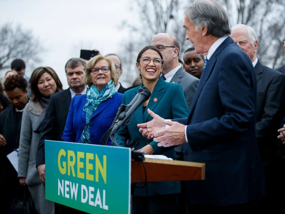 PHOTO: Rep. Alexandria Ocasio-Cortez and Sen. Ed Markey delivers remarks on the Green New Deal resolution during a press conference on Capitol Hill in Washington, Feb. 7, 2019.