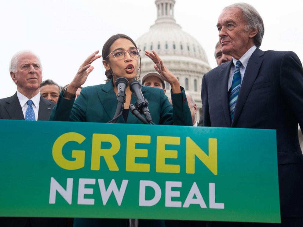 PHOTO: Rep. Alexandria Ocasio-Cortez Sen. Ed Markey speak during a press conference to announce Green New Deal legislation to promote clean energy programs outside the U.S. Capitol in Washington, Feb. 7, 2019.