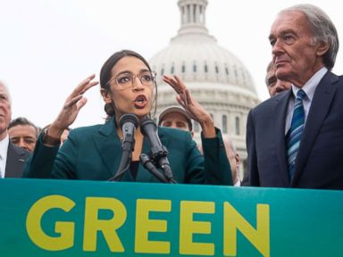 PHOTO: Rep. Alexandria Ocasio-Cortez and Sen. Ed Markey speak during a press conference to announce Green New Deal legislation to promote clean energy programs outside the U.S. Capitol in Washington, Feb. 7, 2019.