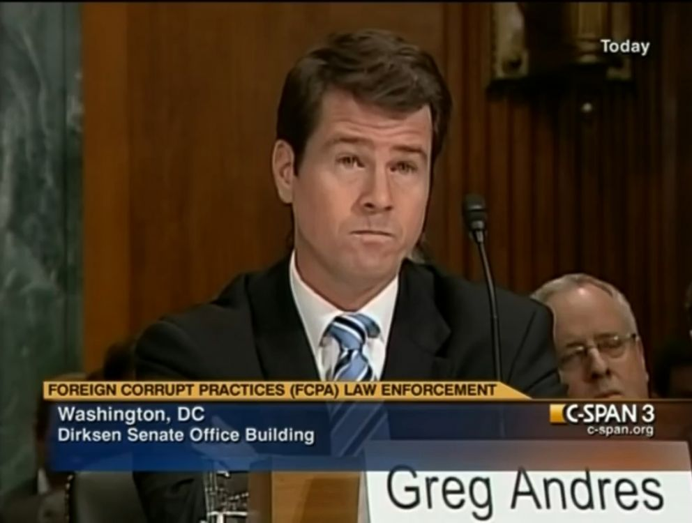 PHOTO: Then-Deputy Assistant Attorney General Greg Andres testifies in front of a Senate Judiciary Subcommittee on Crime and Drugs in Washington, Nov. 30, 2010.