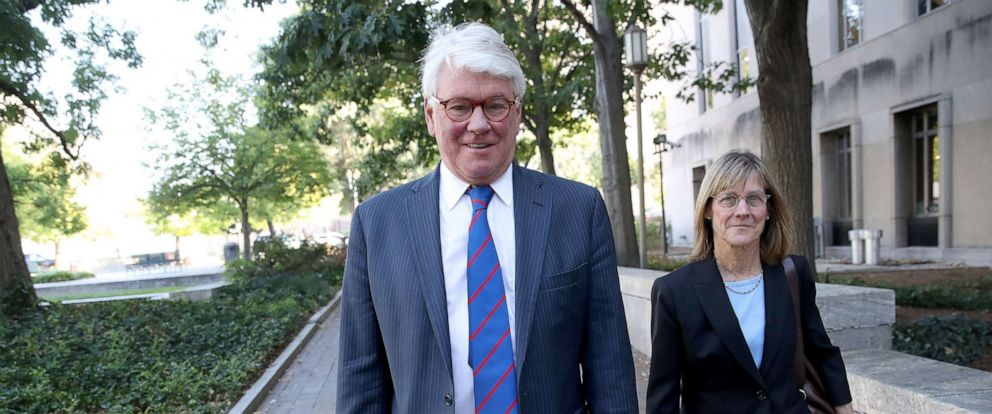 PHOTO: Gregory Craig (L), former White House counsel to U.S. President Barack Obama, arrives at federal court September 3, 2019, in Washington, D.C.