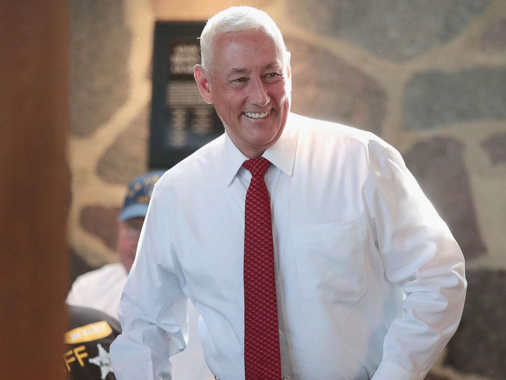 PHOTO: Greg Pence, Republican candidate for the U.S. House of Representatives, arrives at a primary-night watch party, May 8, 2018 in Columbus, Indiana. Pence is the older brother of Vice President Mike Pence.