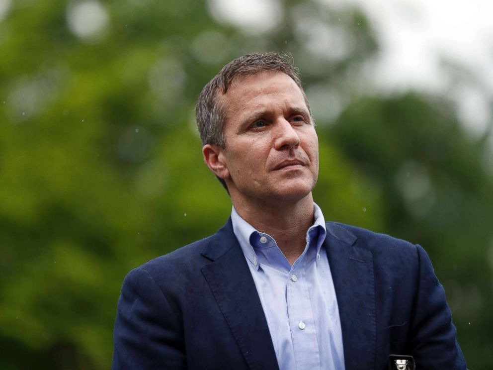 PHOTO: Missouri Gov. Eric Greitens stands off to the side before stepping up to the podium to deliver remarks to a small group of supporters near the capitol, May 17, 2018, in Jefferson City, Mo. missouri gov. eric greitens announces resignation Missouri Gov. Eric Greitens announces resignation greitens ap er 180521 hpMain 4x3 992