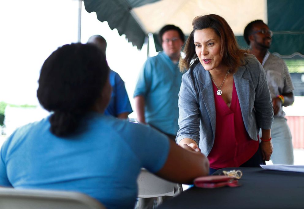 PHOTO: Michigan Democratic gubernatorial candidate Gretchen Whitmer campaigns in Detroit, July 28, 2018.