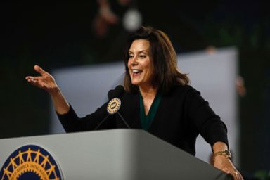 PHOTO: Michigan Democrat Gubernatorial candidate Gretchen Whitmer addresses the 37th United Auto Workers Constitutional Convention on June 14, 2018 in Detroit.