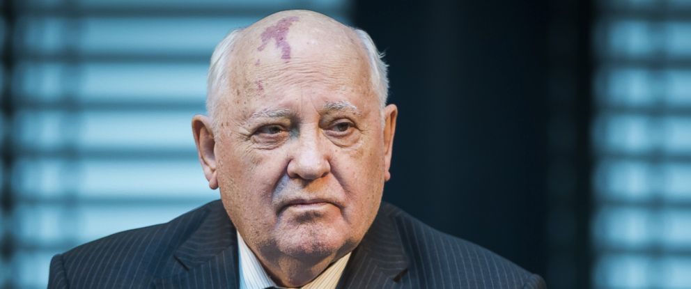 "PHOTO: Former President of the Soviet Union Mikhail Gorbachev attends a symposium on security in Europe 25 years after the fall of the ""Wall"" in Berlin, Nov. 8, 2014."