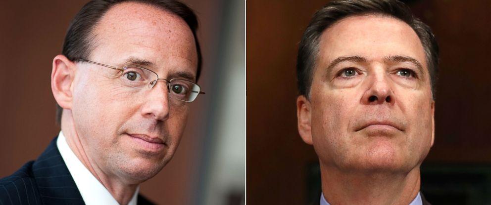 PHOTO: Deputy Attorney General Rod J. Rosenstein in Baltimore, Maryland, Aug. 1, 2011.   Former FBI Director James Comey in Washington, May 3, 2017.