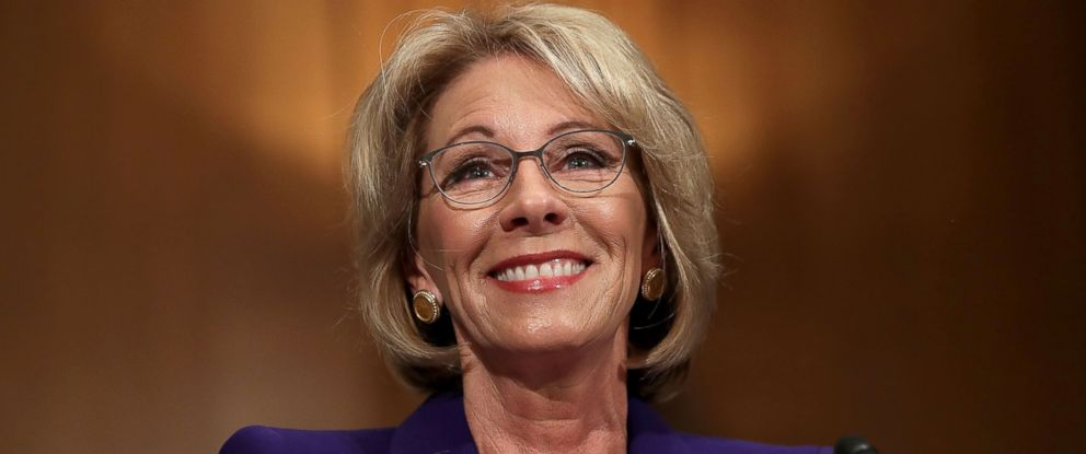 PHOTO: Betsy DeVos testifies during her confirmation hearing before the Senate Health, Education, Labor and Pensions Committee in the Dirksen Senate Office Building on Capitol Hill in Washington, Jan. 17, 2017.