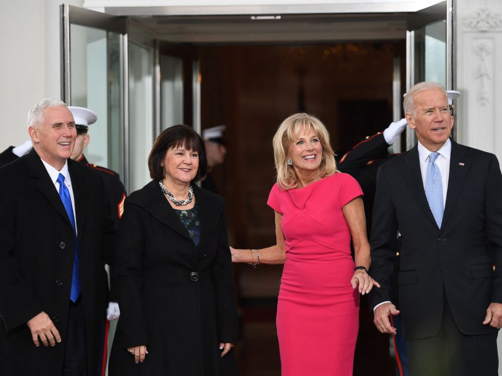 PHOTO: Vice President Joe Biden and his wife Dr. Jill Biden, welcome Vice President-elect Mike Pence and his wife Karen to the White House before the inauguration ceremony, Jan. 20, 2017.