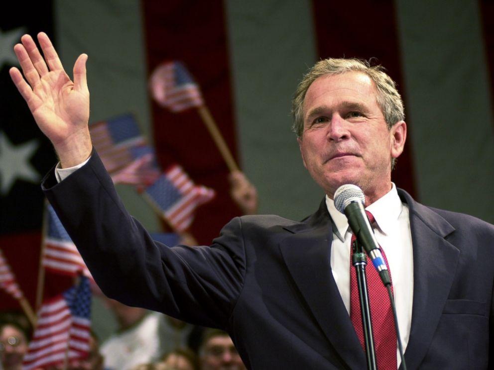 PHOTO: George W. Bush campaigns at the Adler Theater in Davenport, Iowa, Nov. 7, 2000.