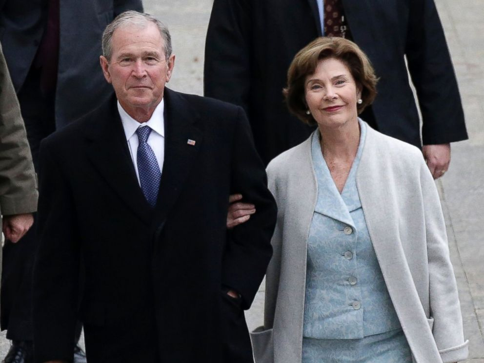PHOTO: Former President of the George W. Bush and wife Laura Bush arrive at the Capitol Building before President-elect Donald Trump is sworn in at the inauguration in Washington, Jan. 20, 2017.