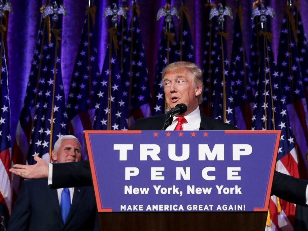 PHOTO: President-elect Donald Trump delivers his acceptance speech during his election night event at the New York Hilton Midtown in the early morning hours of Nov. 9, 2016 in New York City.