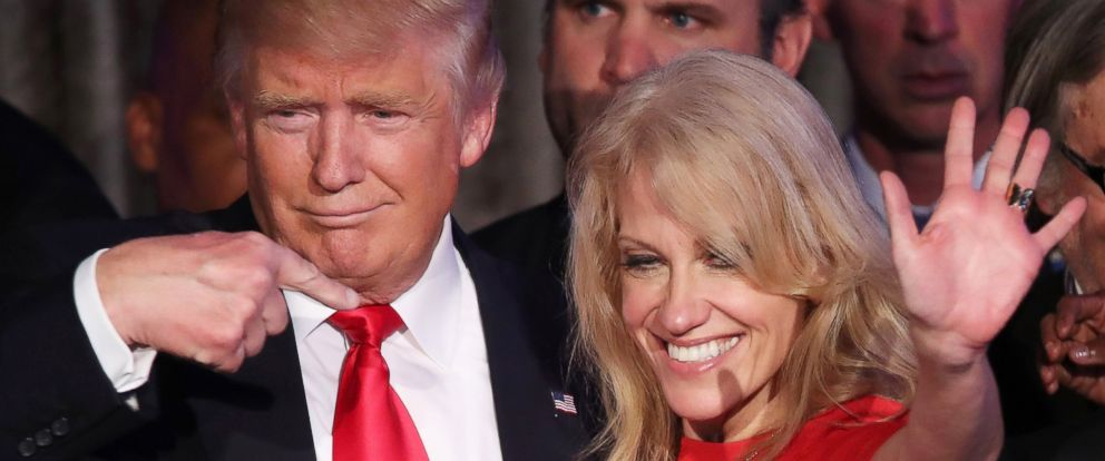 PHOTO: President-elect Donald Trump along with his campaign manager Kellyanne Conway acknowledge the crowd during his election night event, Nov. 9, 2016 in New York City.