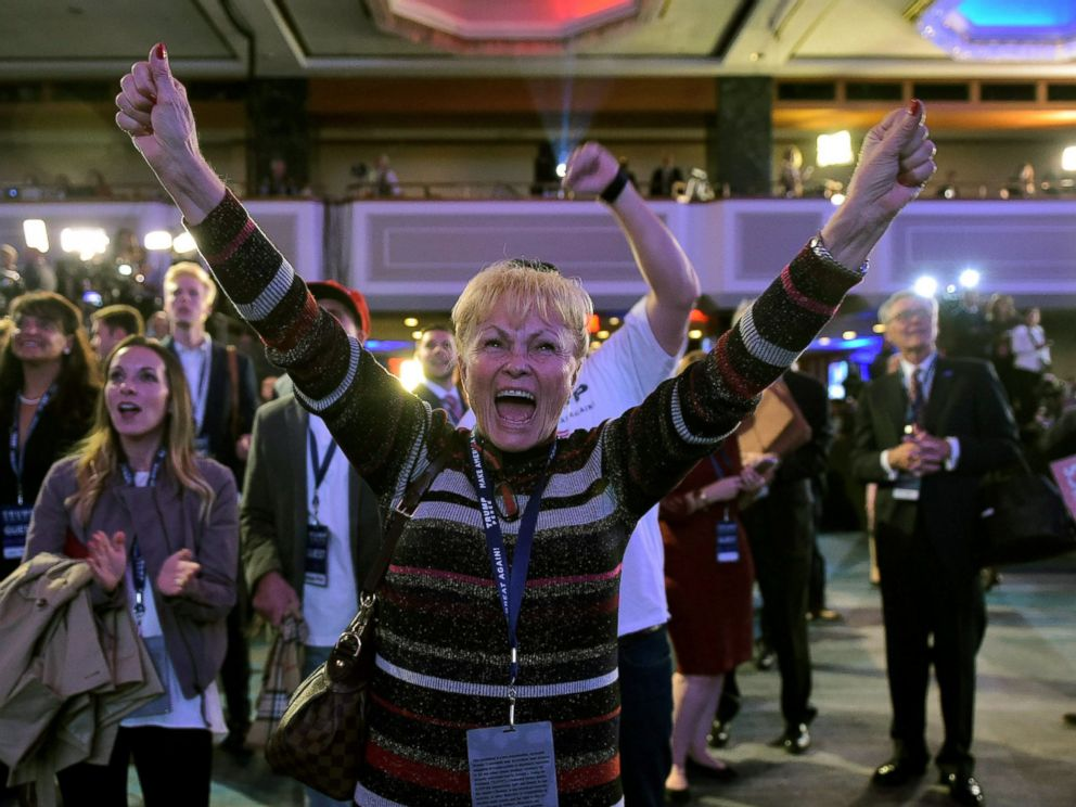 PHOTO: Supporters of Donald Trump react as they watch sate by state results unfold on election night at the New York Hilton Midtown in New York on Nov. 8, 2016.