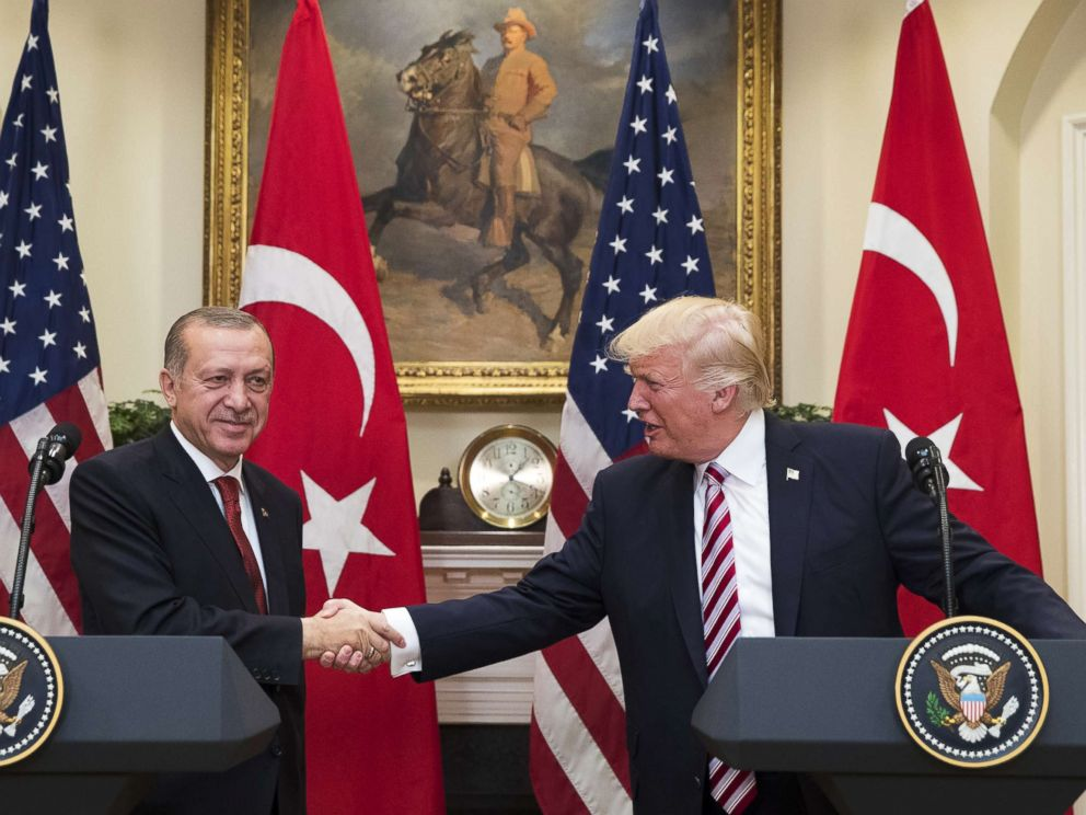 PHOTO: President Donald Trump shakes hands with President of Turkey Recep Tayyip Erdogan in the Roosevelt Room where they issued a joint statement following their meeting at the White House, May 16, 2017 in Washington, D.C.