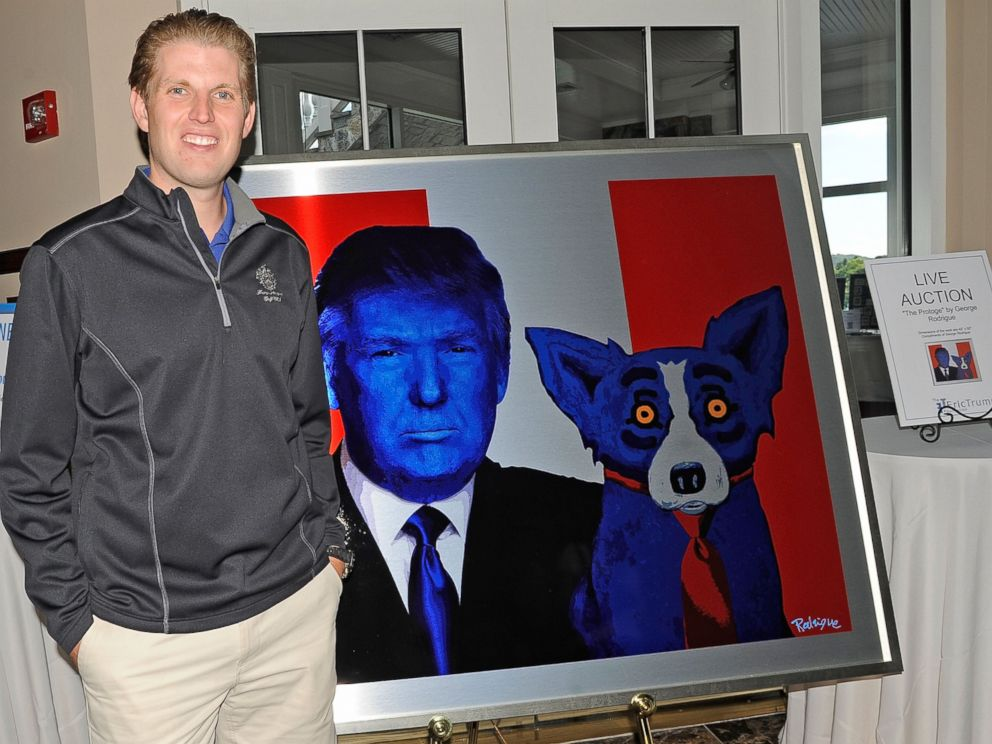 PHOTO: Eric Trump stands next to a painting at his foundations 6th annual golf invitational benefiting The St. Jude Childrens Research Hospital at Trump National Golf Club Westchester on Sept. 10, 2012 in Briarcliff Manor, N.Y.