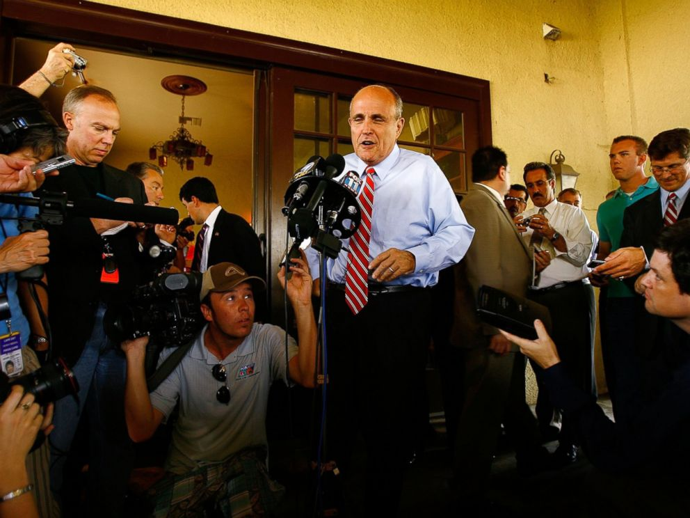 PHOTO: Republican presidential nomination hopeful, former New York City Mayor Rudy Giuliani, talks to the reporters as he campaigns, July 24, 2007, in Riverside, California.