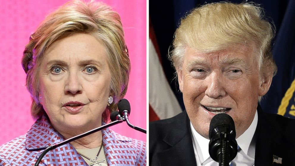 Hillary Clinton speaks on May 2, 2017 in New York and Donald Trump speaks on April 27 in Washington.