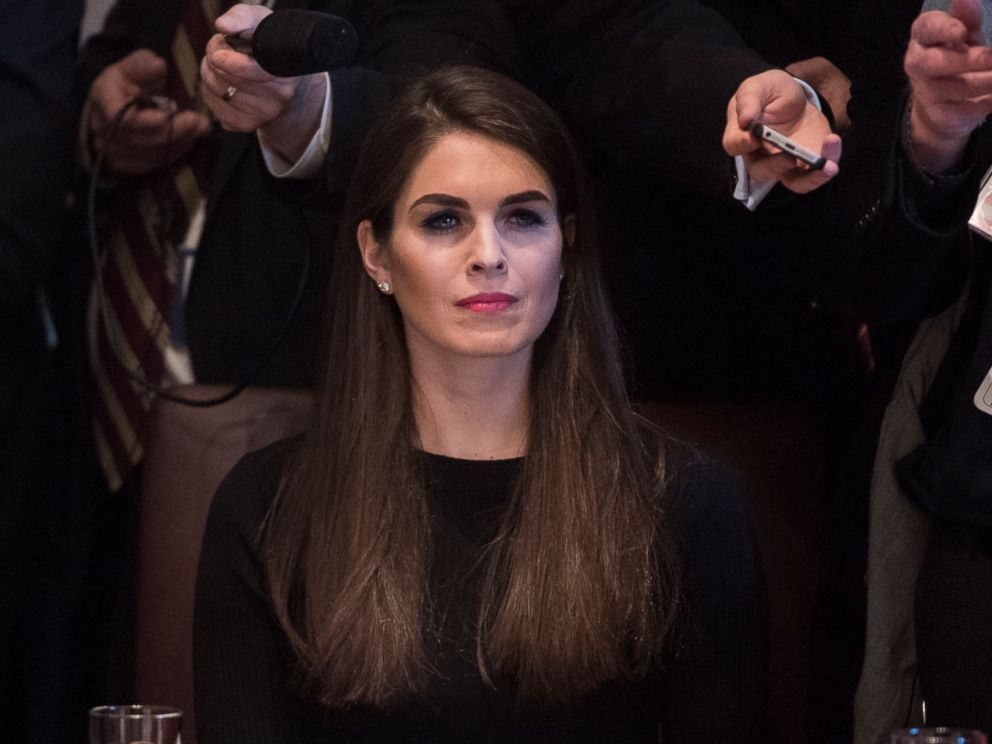 PHOTO: White House Director of Strategic Communications Hope Hicks listens as President Donald Trump and Canadian Prime Minister Justin Trudeau host a meeting at the White House in Washington, D.C., Feb. 13, 2017.