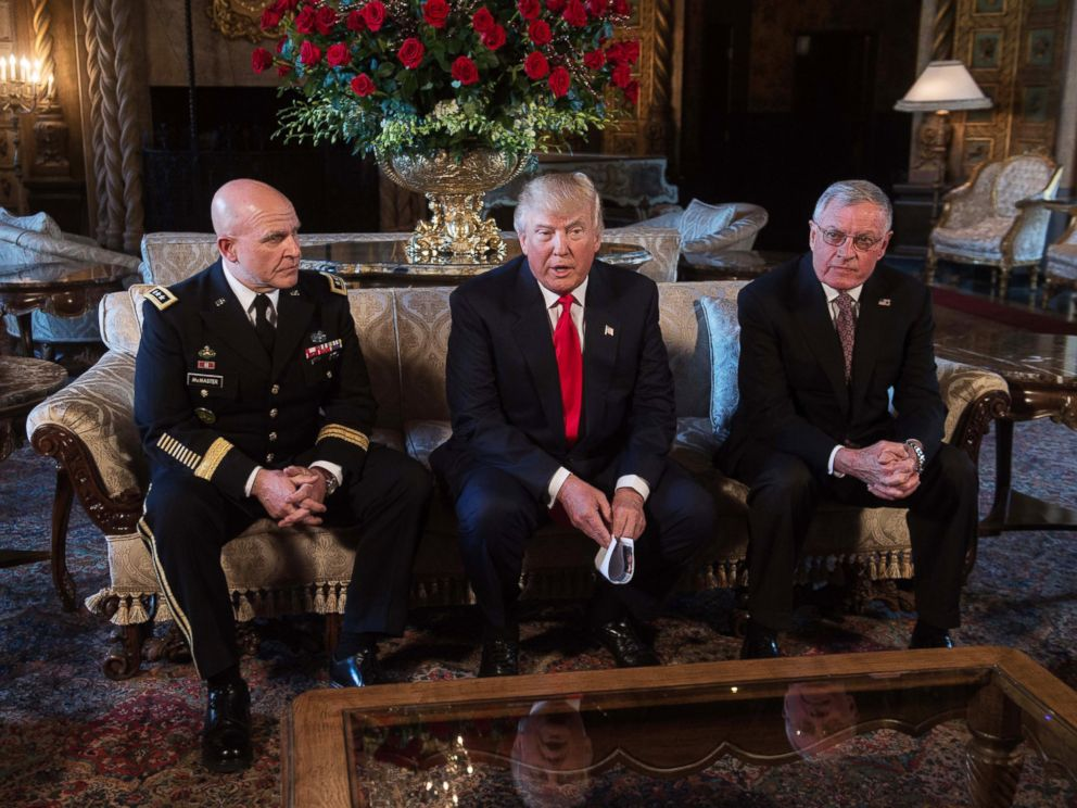 PHOTO: President Donald Trump announces H.R. McMaster as his national security adviser and Keith Kellogg, right, as McMasters chief of staff at Trumps Mar-a-Lago resort in Palm Beach, Fla., Feb. 20, 2017.