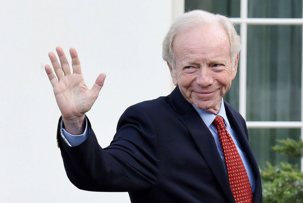 PHOTO: Senator Joe Lieberman leaves the West Wing of the White House after meeting with President Donald Trump on May 17, 2017 in Washington.