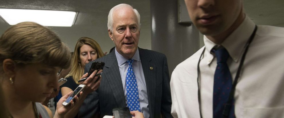 PHOTO: Senator John Cornyn of Texas speaks with reporters at the US Capitol in Washington, June 27, 2017.