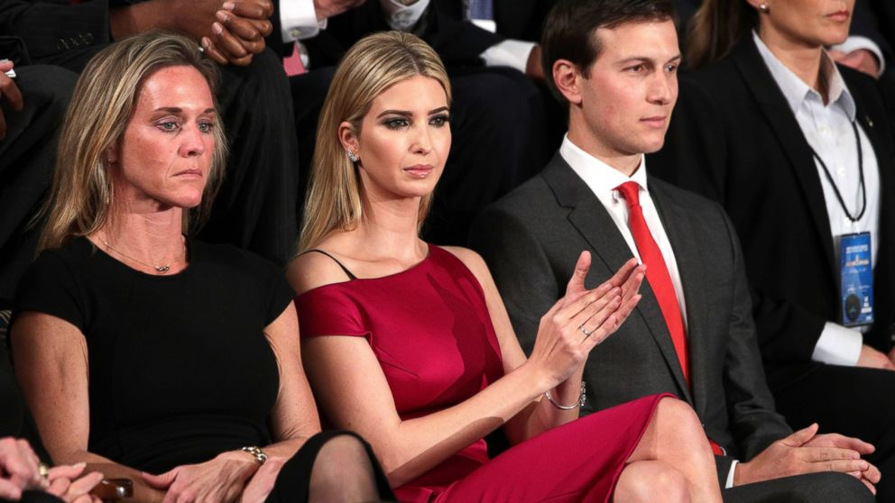 Ivanka Trump and White House Senior Advisor to the President for Strategic Planning Jared Kushner look on as President Donald Trump addresses a joint session of the U.S. Congress on Feb. 28, 2017 in Washington, DC.