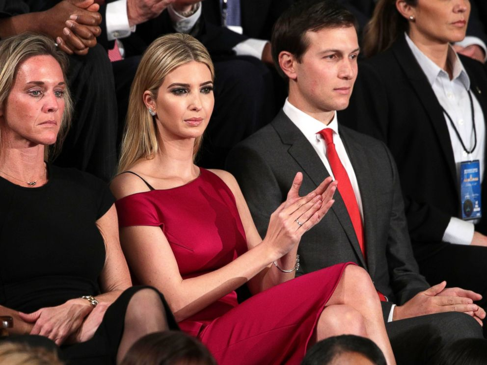 PHOTO: Ivanka Trump and White House Senior Advisor to the President for Strategic Planning Jared Kushner look on as President Donald Trump addresses a joint session of the U.S. Congress on Feb. 28, 2017 in Washington, DC.
