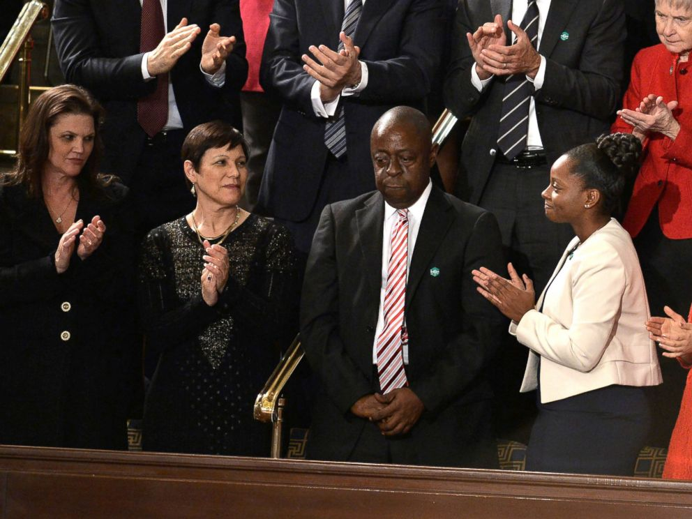 PHOTO: Jamiel Shaw, Sr. is applauded as President Donald Trump addresses a joint session of Congress on Feb. 28, 2017 in Washington, DC.