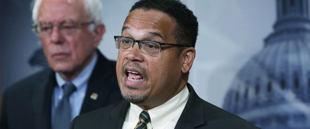 PHOTO: Rep. Keith Ellison speaks to members of the media during a news conference with Sen. Bernie Sanders about private prisons, Sept. 17, 2015 on Capitol Hill in Washington, D.C.