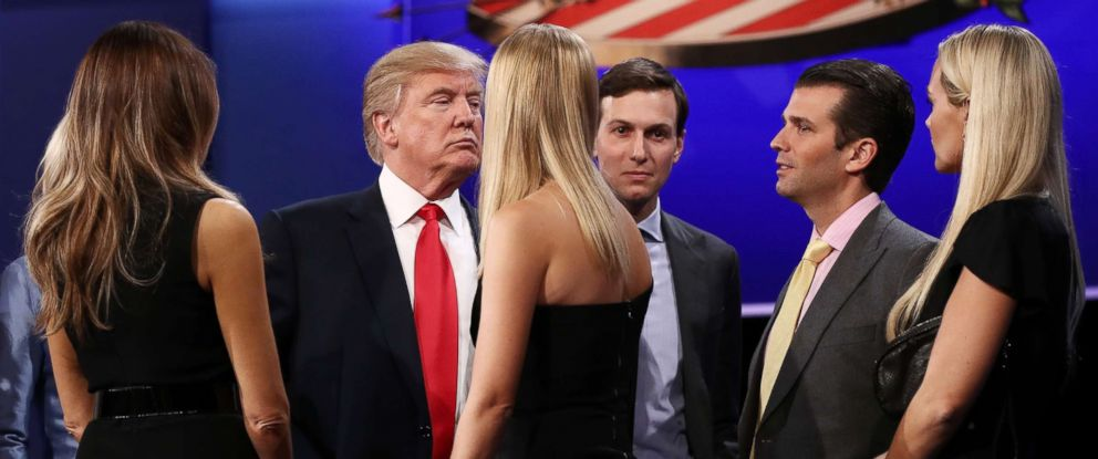PHOTO:Republican presidential nominee Donald Trump (Center-L) stands on stage with his wife Melania Trump (L), Jared Kushner (Center-L), Donald Trump Jr. and his wife Vanessa Trump after the third U.S. presidential debate, Oct. 19, 2016, in Las Vegas.