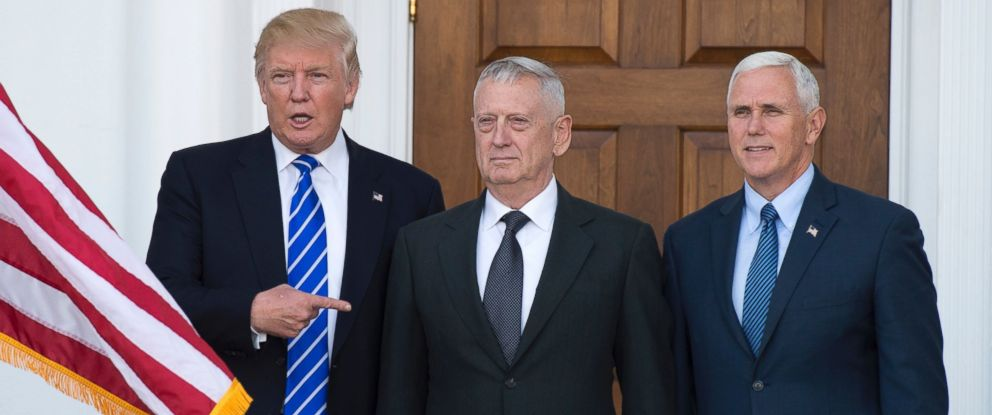 PHOTO: Doanld Trump with US Marines General (Ret.)James Mattis and Vice President-elect Mike Pence(R) on the steps of the clubhouse at Trump National Golf Club in Bedminster, New Jersey, Nov. 19, 2016.