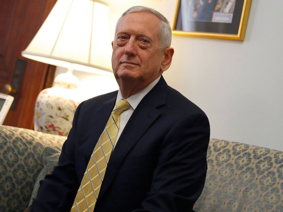 PHOTO: President-elect Donald Trumps nominee for Secretary of Defense General James Mattis on Capitol Hill in Washington, Jan. 4, 2017.