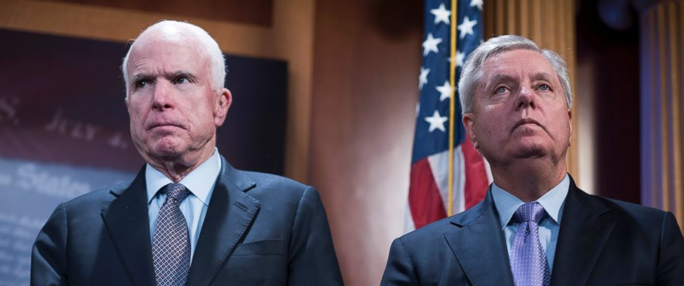 PHOTO: Senators John McCain, R-Ariz., left, and Lindsey Graham, R-S.C., attend a news conference in the Capitol introducing a bipartisan bill to increase sanctions on Russia for its role in U.S. computer hacking, Jan. 10, 2017.