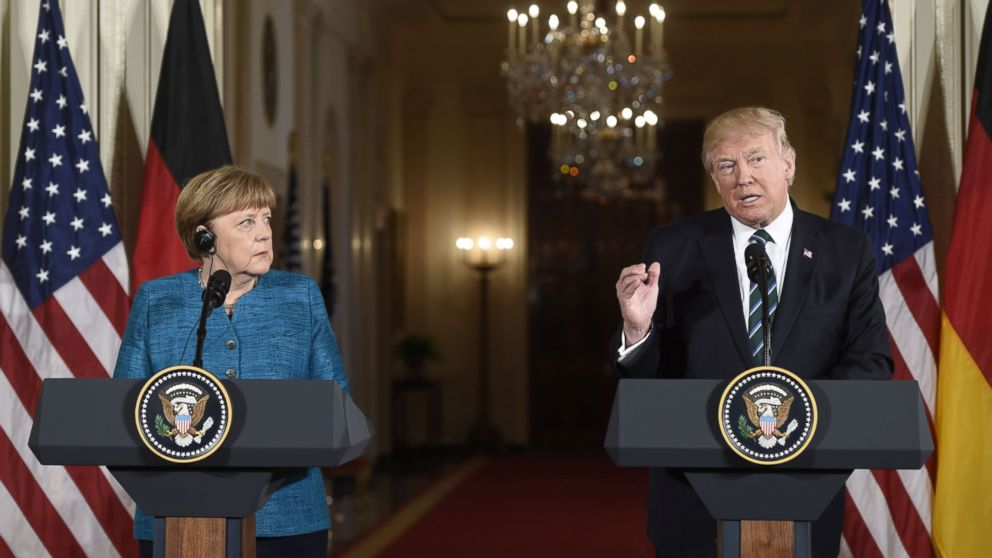 German Chancellor Angela Merkel and President Donald Trump hold a joint press conference in the East Room of the White House, March 17, 2017.