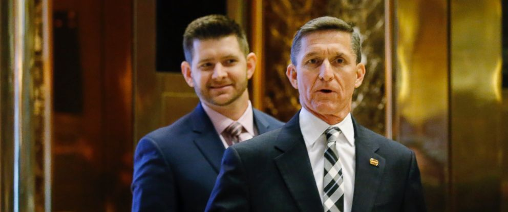 PHOTO: Retired Lt. Gen. Michael Flynn arrives at the Trump Tower for meetings with US President-elect Donald Trump, accompanied by his son, Michael Flynn Jr., in New York on Nov. 17, 2016.