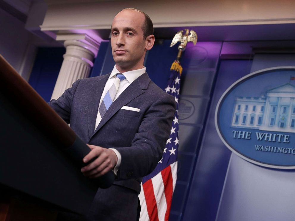 PHOTO: Senior Advisor to the President for Policy Stephen Miller talks to reporters at the White House, Aug. 2, 2017.