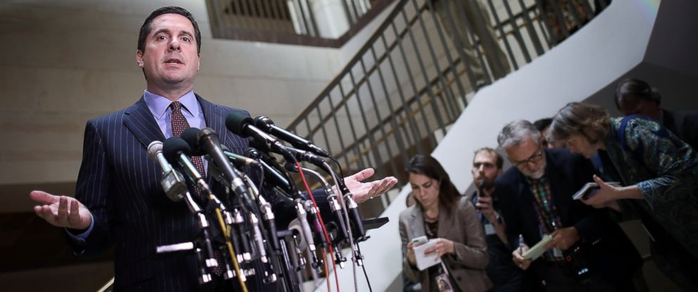 PHOTO: House Permanent Select Committee on Intelligence Chairman Devin Nunes (R-CA) speaks to reporters during a news conference at the U.S. Capitol, March 22, 2017.