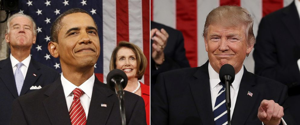 PHOTO: President Barack Obama speaks on health care before a joint session of the Congress on Capitol Hill, Sept. 9, 2009. President Donald Trump delivers his first address to a joint session of the U.S. Congress, Feb. 28, 2017, at the U.S. Capitol.