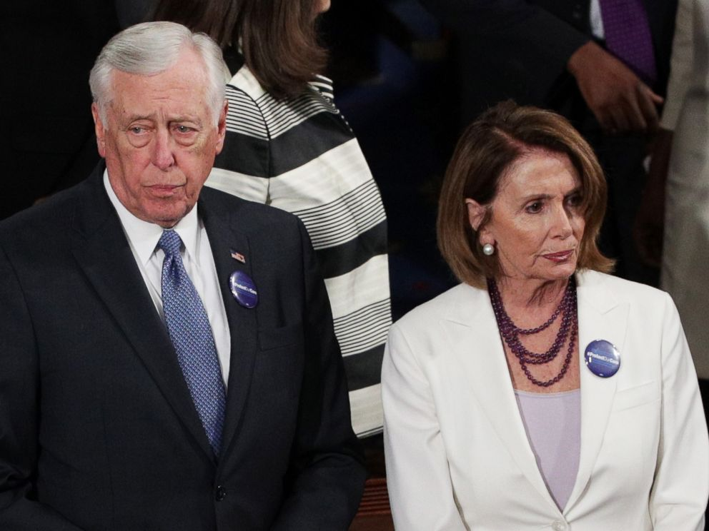 PHOTO: Rep Steny Hoyer (D-MD) and House Minority Leader Nancy Pelosi (D-CA) arrive to a joint session of the U.S. Congress with President Donald Trump, Feb. 28, 2017.