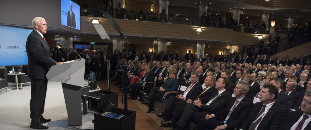 PHOTO: Vice President Mike Pence speaks at the 2017 Munich Security Conference, Feb. 18, 2017, in Munich, Germany.
