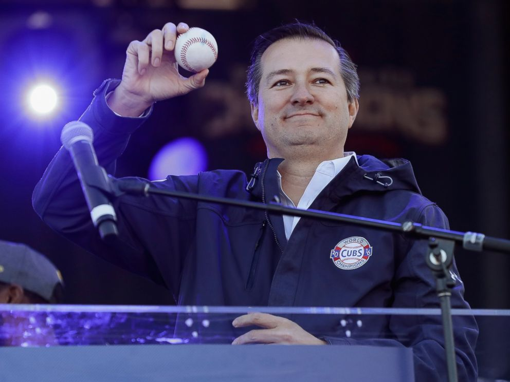 PHOTO:Tom Ricketts of the Chicago Cubs holds the ball from the final out of the World Series during the Chicago Cubs victory celebration in Grant Park, Nov. 4, 2016, in Chicago.