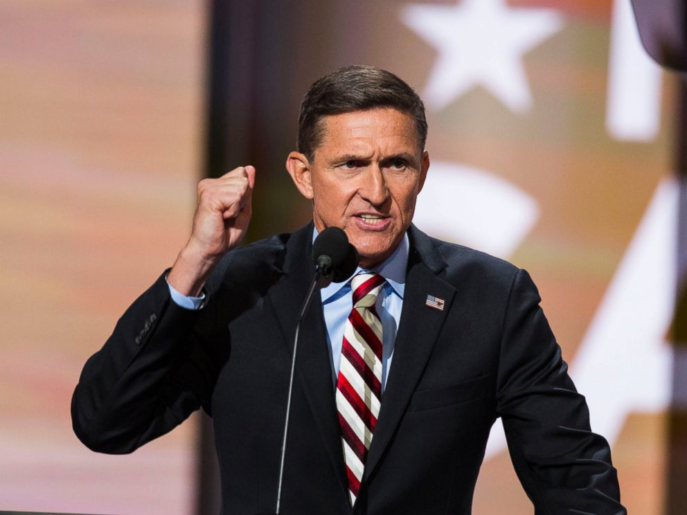 PHOTO: Retired Lt. Gen. Michael Flynn delivers a speech on the first day of the Republican National Convention, July 18, 2016, at the Quicken Loans Arena in Cleveland, Ohio.