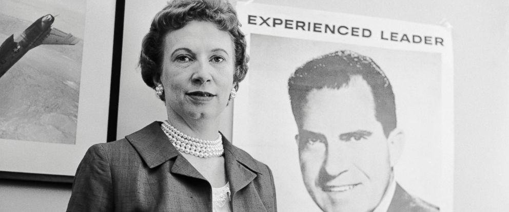 PHOTO: Richard Nixons secretary Rosemary Woods stands in front of a poster for her boss during the 1960 Presidential Election.