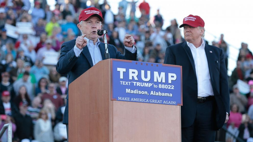 Senator Jeff Sessions, R-Ala., becomes the first Senator to endorse Donald Trump for President of the United States at Madison City Stadium, Feb. 28, 2016, in Madison, Ala.