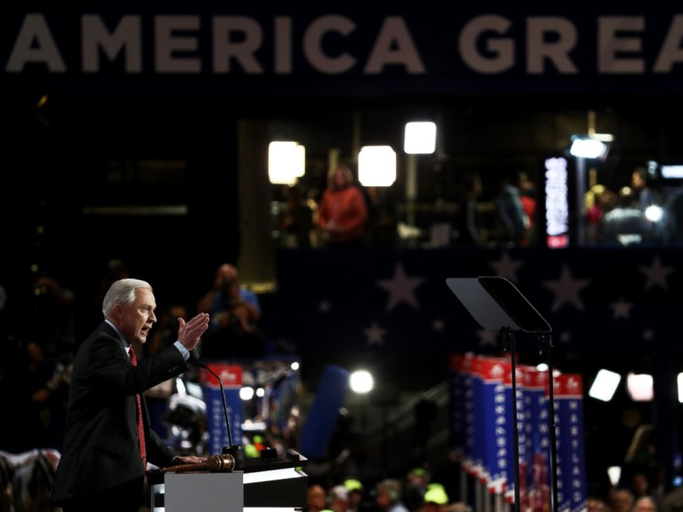 PHOTO: Sen. Jeff Sessions (R-AL) delivers a speech during the opening of the second day of the Republican National Convention, July 19, 2016, at the Quicken Loans Arena in Cleveland, Ohio.